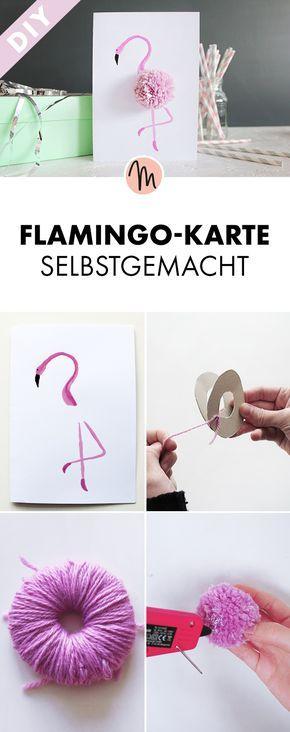Flamingo-Karte selbstgemacht - kostenlose DIY-Anleitung via Makerist.de