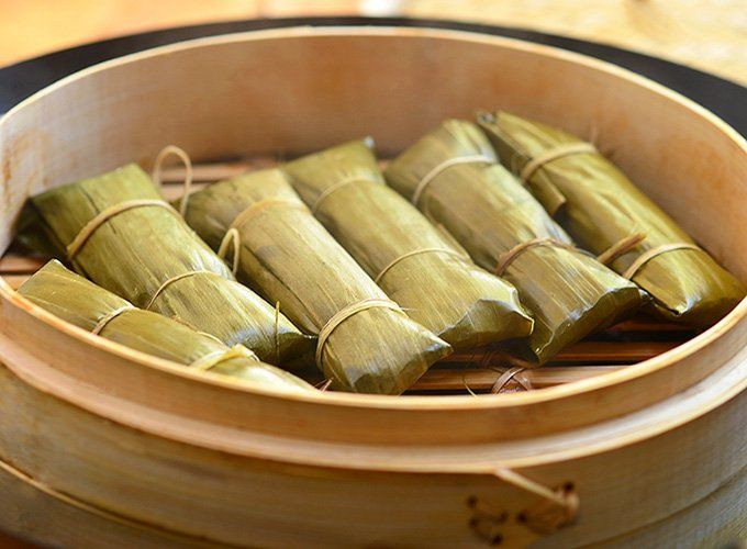 Cassava suman-A delicious snack made with coconut and cassava root wrapped and steamed in banana leaves