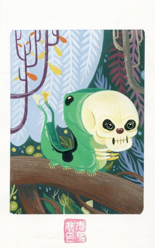 Skull Caterpillar di DocCaligari su Etsy