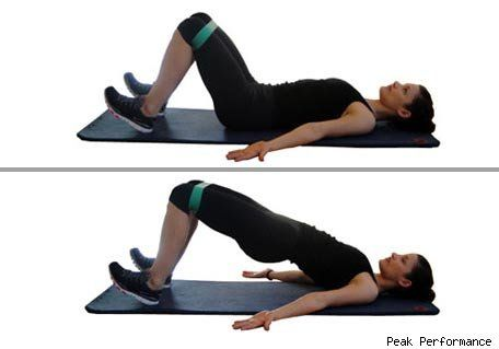 bridge with resistance band  google search  glutes