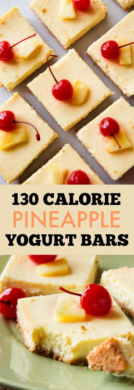 Only 130 calories!! Lightened up and SUPER CREAMY greek yogurt cheesecake bars with pineapple. Easy recipe found on sallysbakingaddiction.com