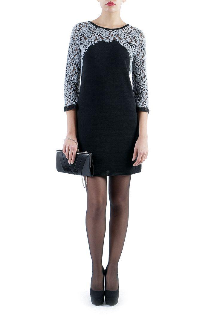 http://www.mireafashion.it/it/abiti-donna-maglieria-italiana/35296-abiti-donna-abito-lana-nero-con-pizzo-grigio-sul-petto-e-maniche-tre-quarti-2030007381.html  #fashion #dresses #shopping #black #lacedress #outfit #christmasgitfs #madeinitaly #christmasideas