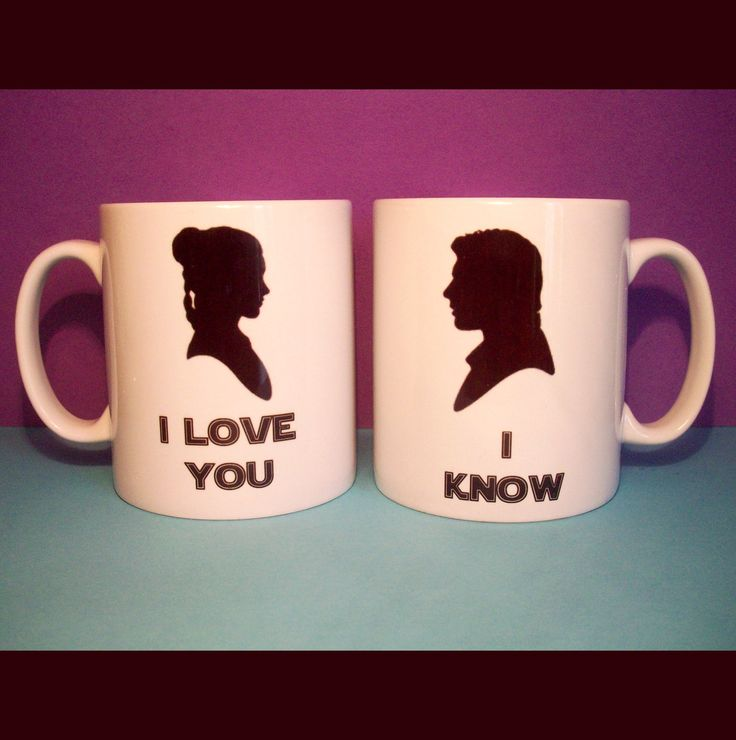 """I love you."" ""I know."" // Han & Leia Star Wars coffee mugs. When I get married, I must have these!"