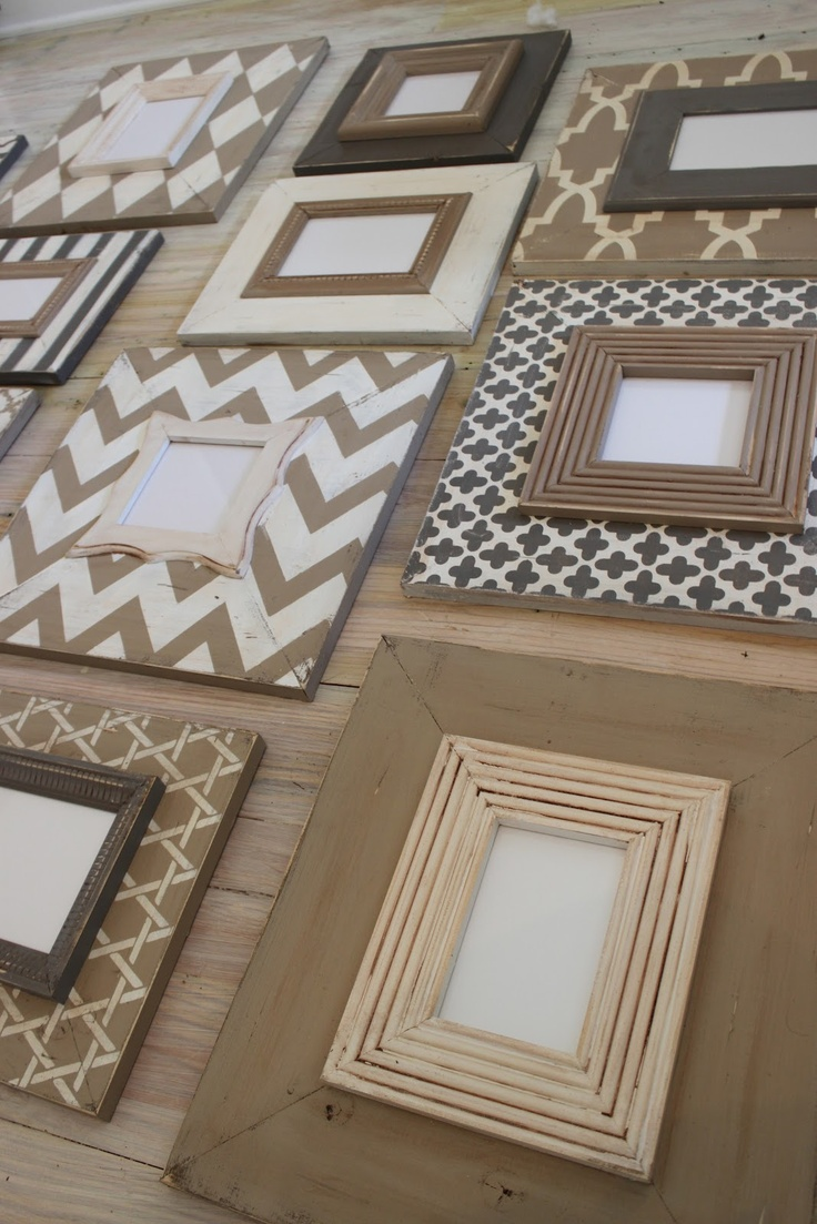 Use variation in picture frame border and size to create a picture frame wall