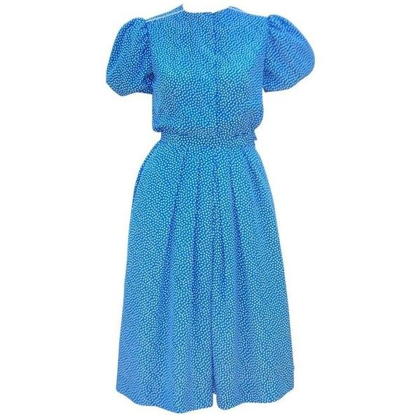 Preowned Ladylike C.1980 Albert Nipon Silk Polka Dot Two Piece Dress ($295) ❤ liked on Polyvore featuring dresses, blue, day dresses, puff sleeve dress, silk dress, blue dress, sleeved dresses and puffed sleeve dress