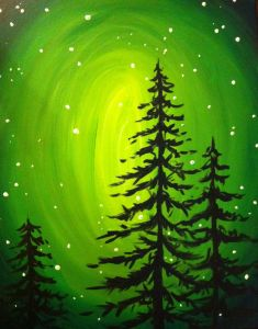 December ~ Advent ~ Week Two: The Light of Plant & Branch ~ Glowing Evergreens ~ painting