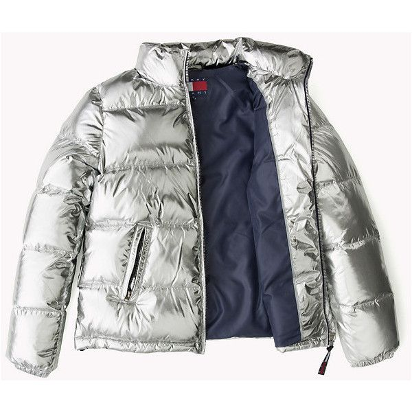 Silver Down Puffer Jacket ($265) ❤ liked on Polyvore featuring outerwear, jackets, silver jacket, puffer jacket, white puffer jacket, puffy jacket and white jacket