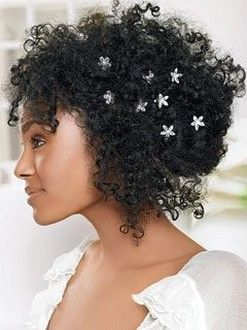 Natural Hair :  wedding natural hair curly Curly Black Bride Hairstyle With Flower Clips