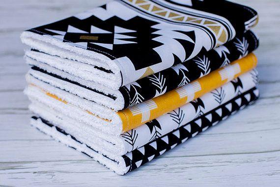 Baby Burp Cloths Set of 5, Baby Gift, Baby Shower, Newborn, Nursing, Feeding Burpcloths, Gold, Black, Aztec