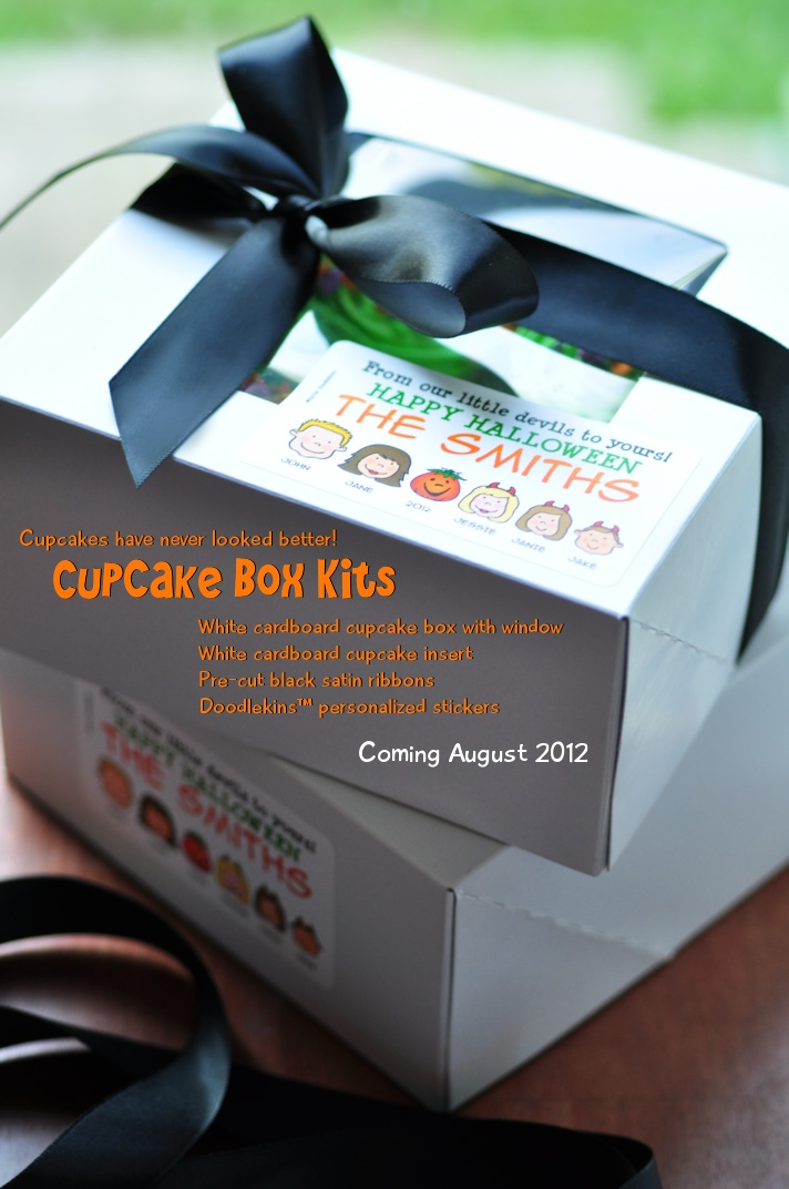 Cupcake box kits complete with customizable cartoon family labels! For any occasion or holiday! :) Available August 2012: Holiday, Kits Complete, Cupcake Boxes, Box Kits, August 2012, Customizable Cartoon