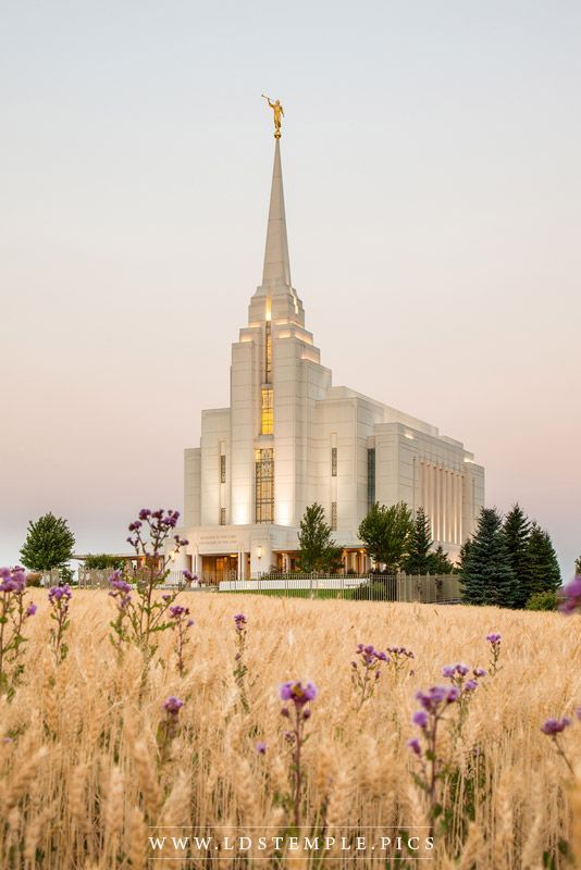Rexburg Temple Harvest Sunrise - A peaceful summer morning sunrise at the…