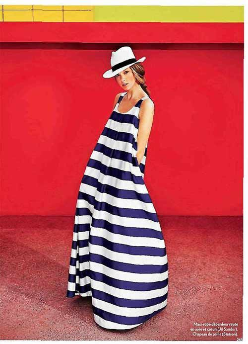 Jil Sander maxi dress and hat by Stetson as seen in Marie Claire France, June 2011.