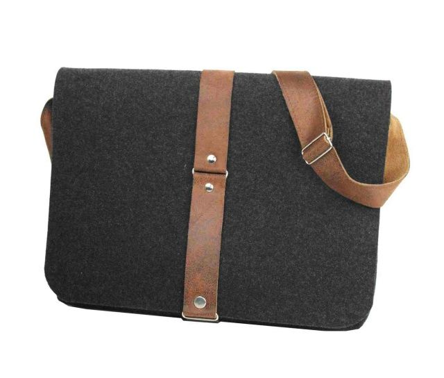 MEN TOFFI felt bag - Purol Design  MEN TOFFI is a hand-made bag of dark grey felt and brown genuine leather.