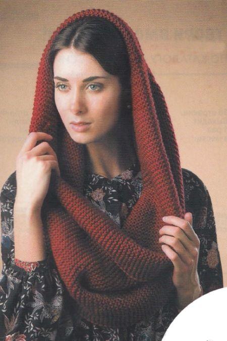 Бордовый снуд. Модная альтернатива вязаному шарфу - объемный снуд.