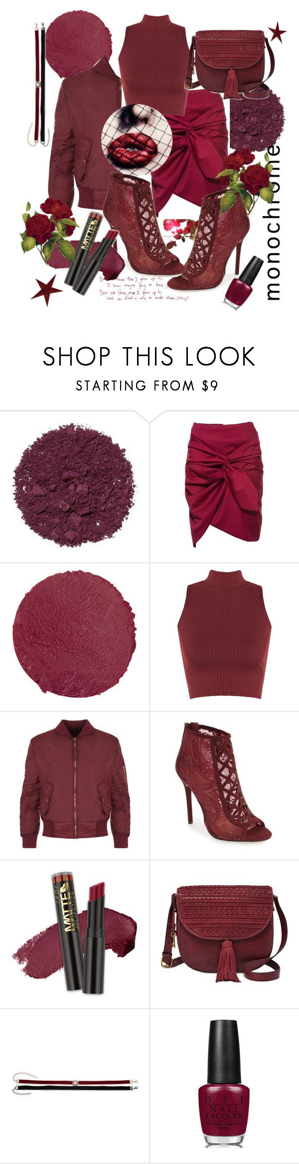 """red like the wine"" by ninasater ❤ liked on Polyvore featuring Illamasqua, Lipstick Queen, WearAll, Daya, FOSSIL, Cara, OPI and monochrome"