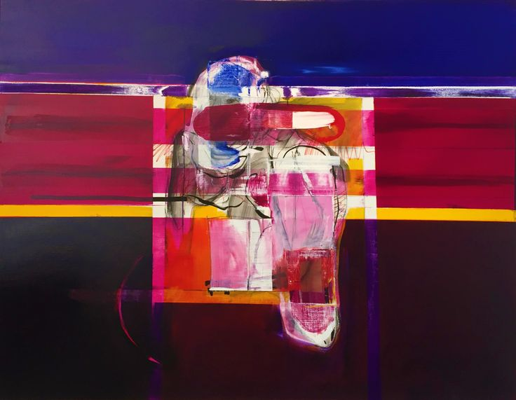 """""""Pink on Blue III"""" 125cm x 1550cm. For more information please contact REDSEA Gallery on (07) 3162 2230 © John Waller"""
