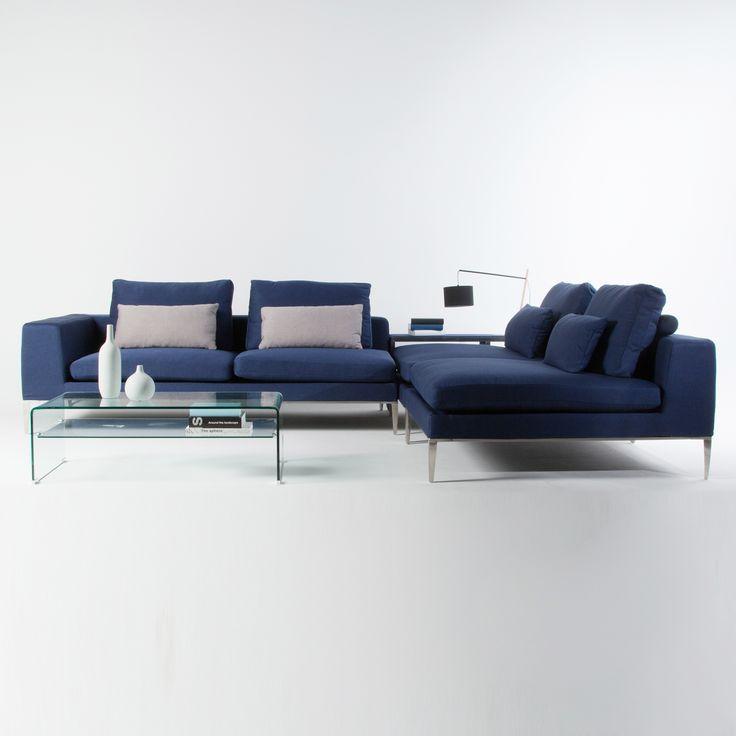 Canapé d'angle modulable tissu bleu 4 places avec pieds métal + coussins YOHANNA port offert