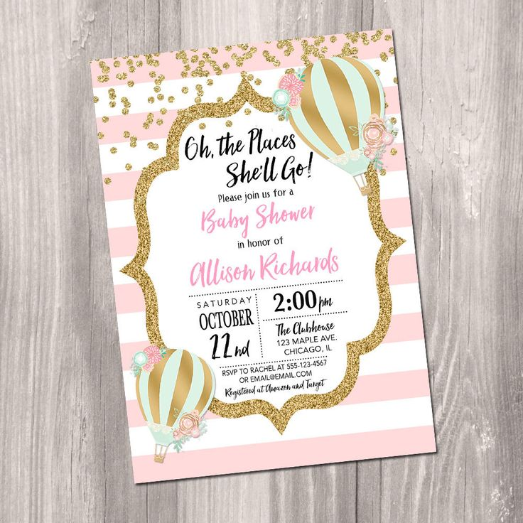 Baby shower invitation girl Hot air balloon confetti oh the places she'll go stripes pink mint gold up up and away Printable digital by StyleswithCharm on Etsy https://www.etsy.com/listing/475643376/baby-shower-invitation-girl-hot-air