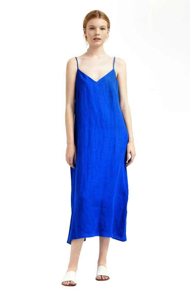 Milk & Thistle – Cobalt blue camisole slip dress in washed Japanese linen. Made in Australia. milkandthistle.com.au