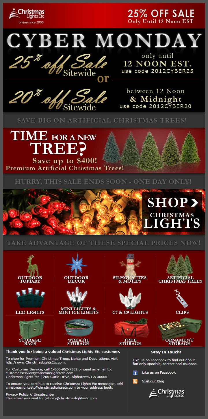 Christmas Lights Etc Email - 11/26/2012 Cyber Monday Sales http://www.christmaslightsetc.com/pages/cyber-monday-christmas-lights-sale.htm