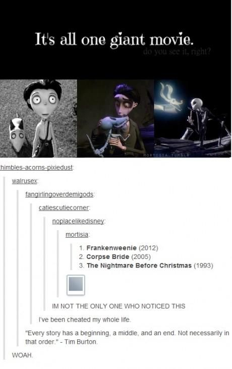 Frankenweenie + Corpse Bride + The Nightmare Before Christmas = all one giant movie. Mind blown.