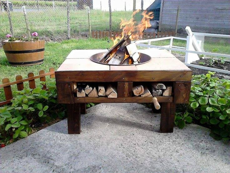 Diy pallet fire pit table with firewood storage kitchen for Concreteworks fire table