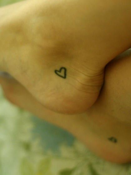 Heart tattoo..move to top of foot between big toe and other toe