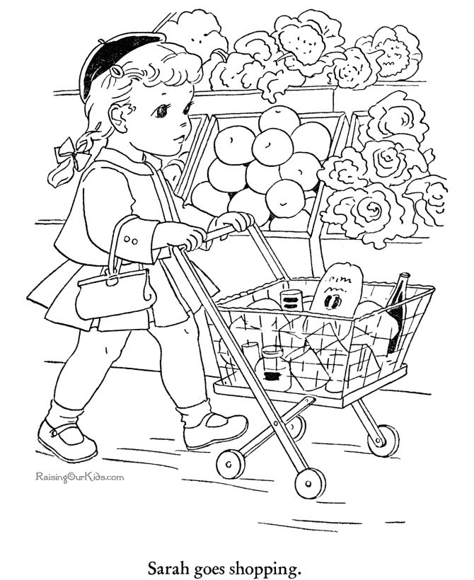 926 best printables children images on pinterest for Grocery shopping coloring pages