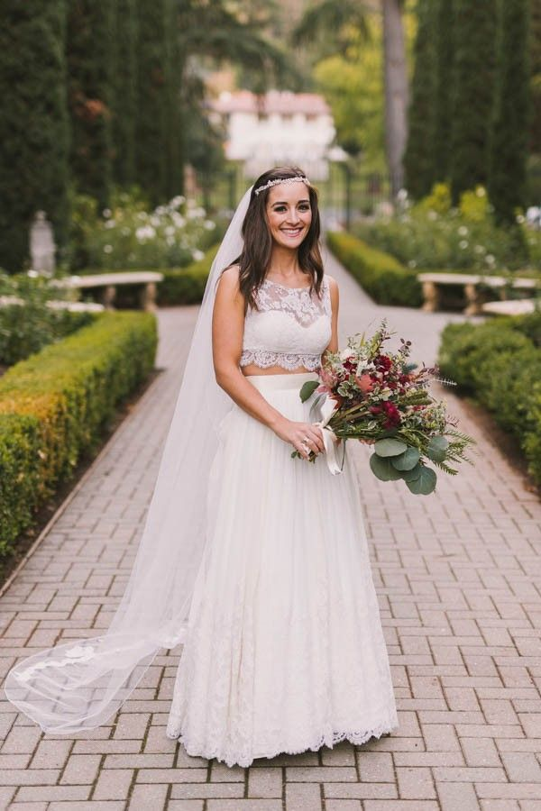 antique wedding dress uk%0A This California Bride Had Her Mother u    s Gown Altered Into a Crop Top Wedding  Dress