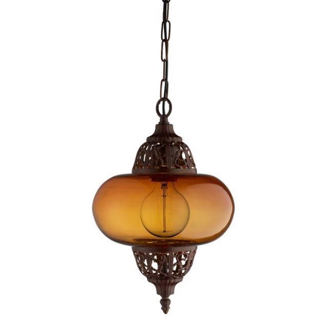 1421AM MOROCCAN - lampa závesná - jantárové sklo + mosadz