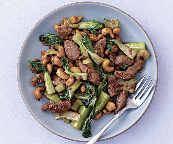 Pork Stir-Fry with Baby Bok Choy and Cashews. Would be good with chicken!