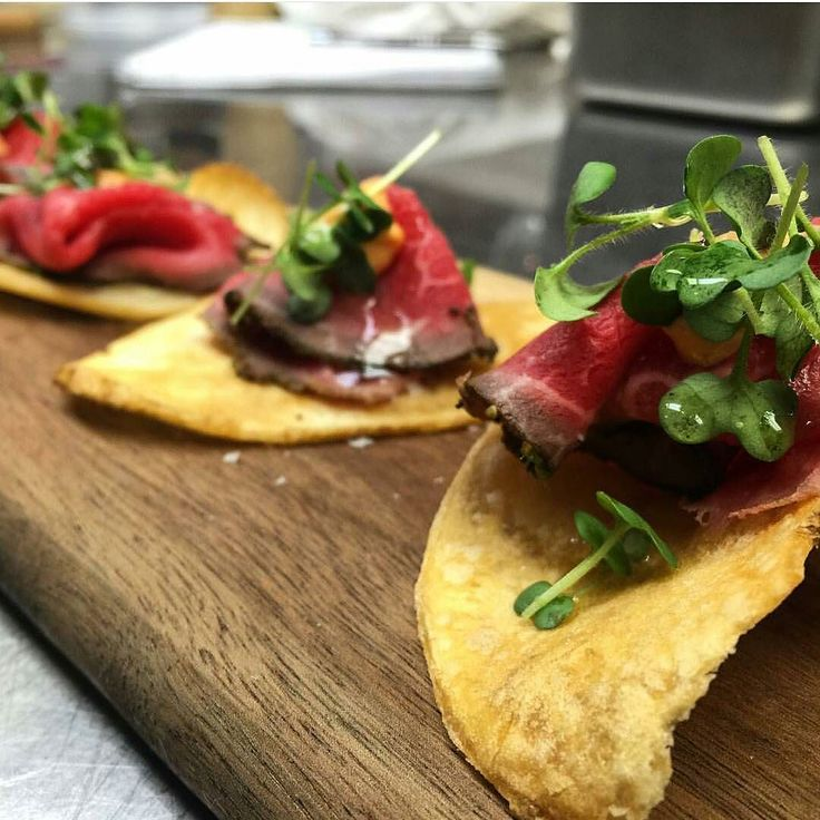Beef carpaccio mustard micros garlic oil and a spiced aioli make for a perfect hors d'oeuvre. @ktownchef knows. by urban.cultivator