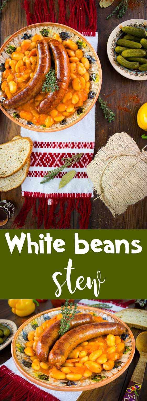 White bean stew with sausages and pickles on the side, the perfect hearty dish for winter.