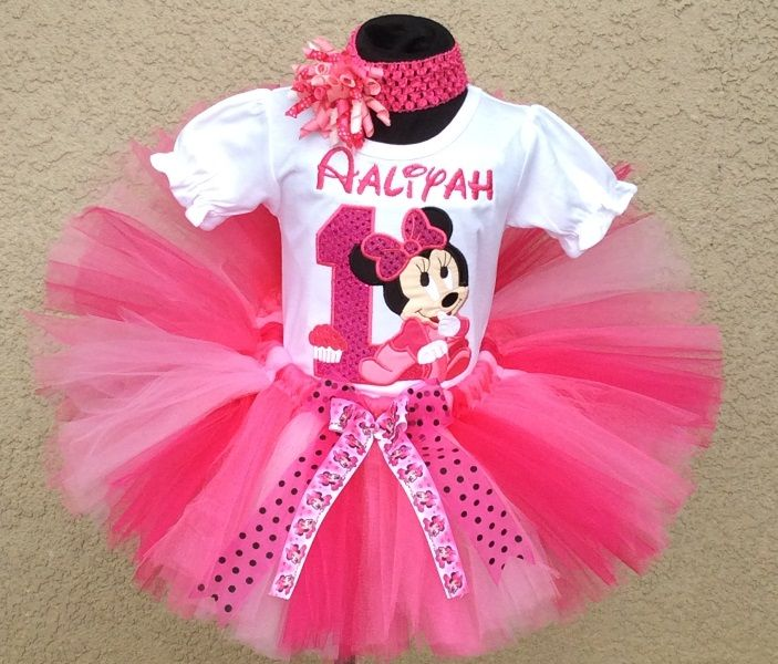 Minnie Mouse Outfits for babies first birthday | Baby Minnie Mouse Hot Pink Cupcake -Birthday Tutu Outfit