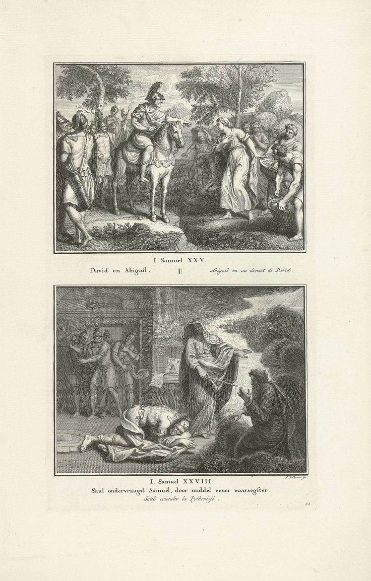 Jacob Folkema   Ontmoeting van David en Abigaïl, en Saul bij de heks van Endor, Jacob Folkema, 1702 - 1767   Twee Bijbelse voorstellingen uit 1 Sam. 25 en 1 Sam. 28. Abigaïl ontmoet haar toekomstige echtgenoot David, en Saul spreekt met Samuels geest bij de heks van Endor. Twee voorstellingen van één plaat, elk voorzien van een titel in het Nederlands en Frans. Geheel rechtsonder genummerd: 54.