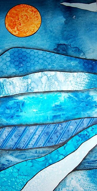 What makes this work, besides the tight color relationship in the blues, is the outlining of the multiple layers.  This could be a handsome project for very young children if you control the palette when they create the papers.