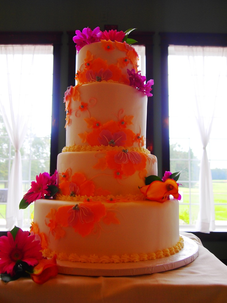 hot pink wedding cake ideas orange amp pink wedding cake the chocolate indulgence 15341