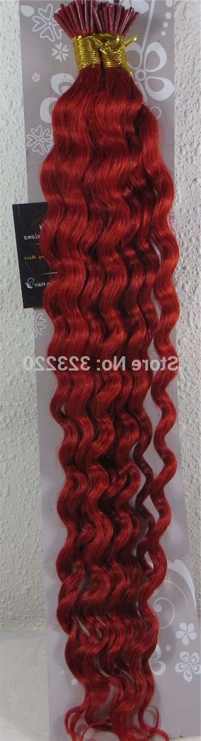 "49.59$  Buy here - http://alis84.worldwells.pw/go.php?t=860625693 - ""Wholesale Indian 22"""" Women Remy Stick Tip I tip Human Hair Extensions Deep Wave Curly 1g/s 100strands #Red"""