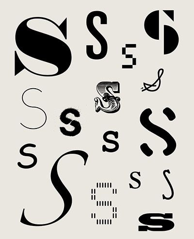 All the S's - various typograhic versions of the letter S