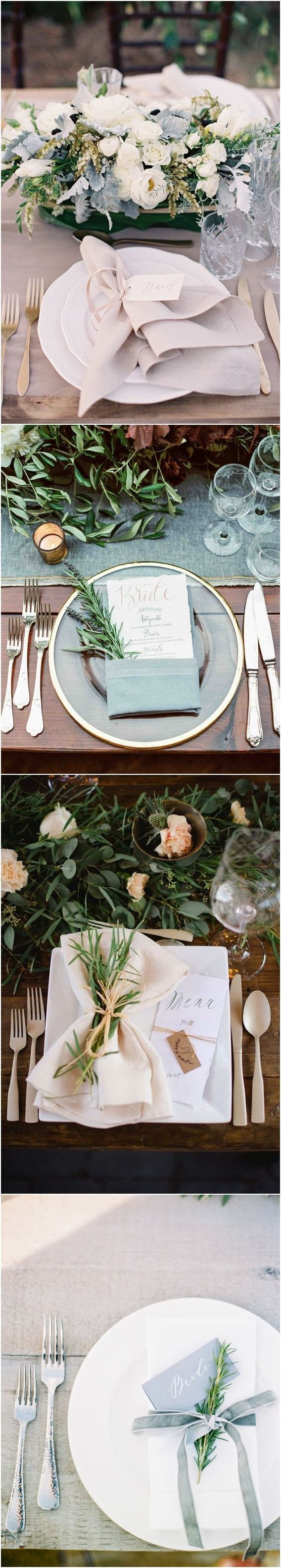 Greenery Wedding Place Setting Ideas / http://www.deerpearlflowers.com/greenery-wedding-place-setting-ideas/