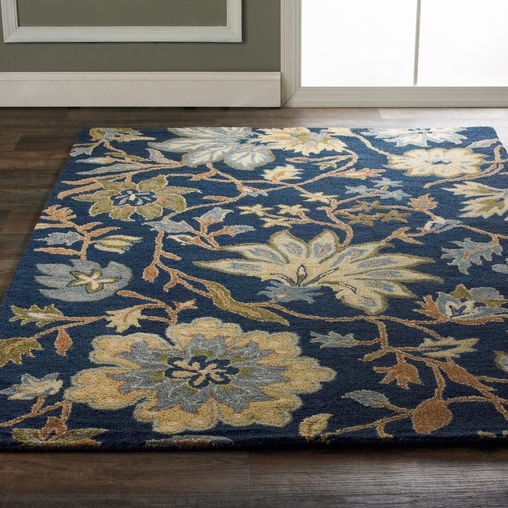 Navy Blue Ground Large Floral Vine Rug Shades Of Light