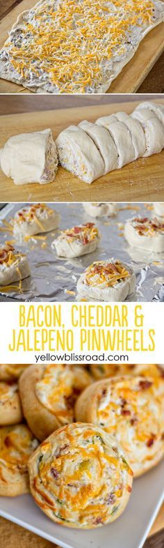 Bacon, Cheddar & Jalapeno Pinwheels. Perfect appetizer for parties or game day!