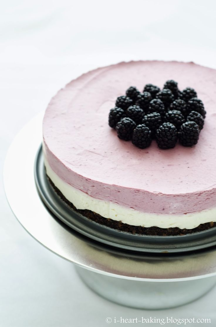 blackberry mousse cake - crunchy chocolate crust topped with lemon cheesecake, blackberry mousse, and fresh blackberries