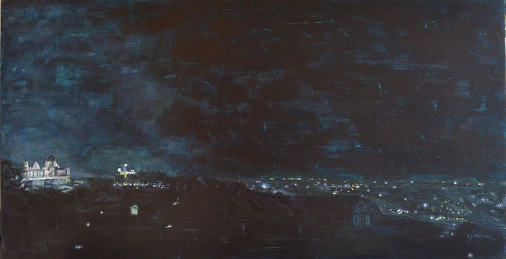 Night from Debod temple. carlos ferGo. 80 x 40