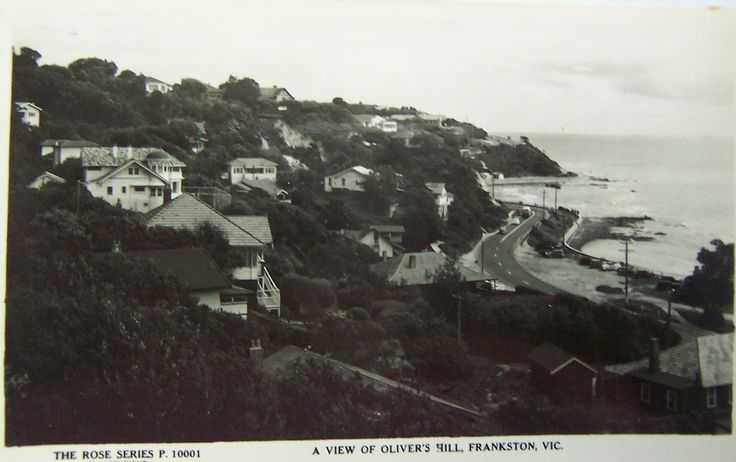 Vintage postcard view of housing on Olivers Hill, Frankston.