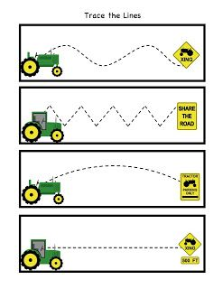 Practice tracing. We love tractors!