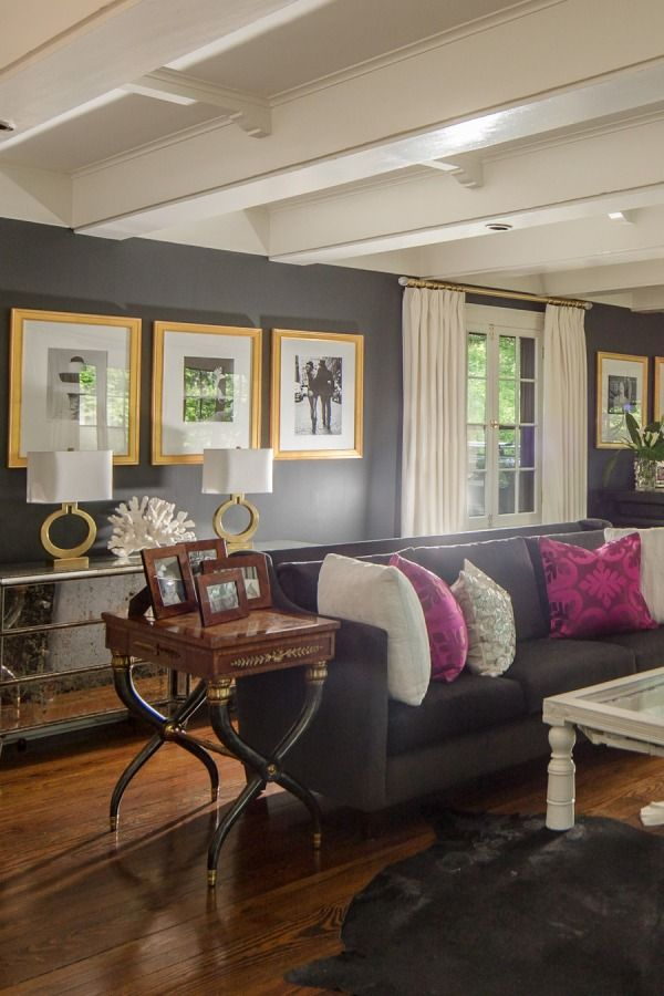 Dark Gray Walls With Gold And Fuchsia Accents
