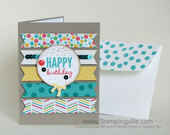 Fun birthday card using Stampin' Up! Celebrate Today stamp set, Balloon Framelits Dies & the Big Shot, and Cherry on Top Designer Series Paper.