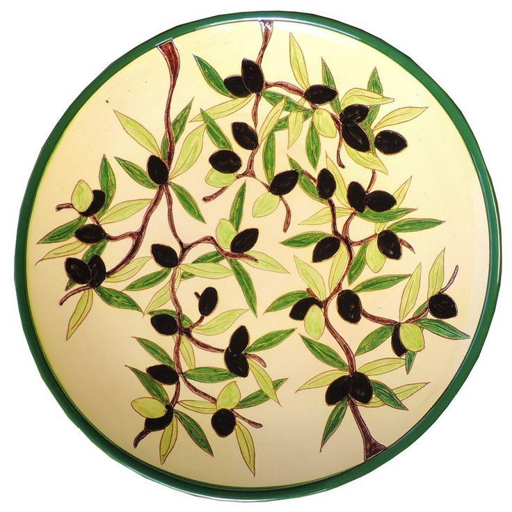 Stort dekorativt handmålat spanskt keramik fat. Trevligt för servering