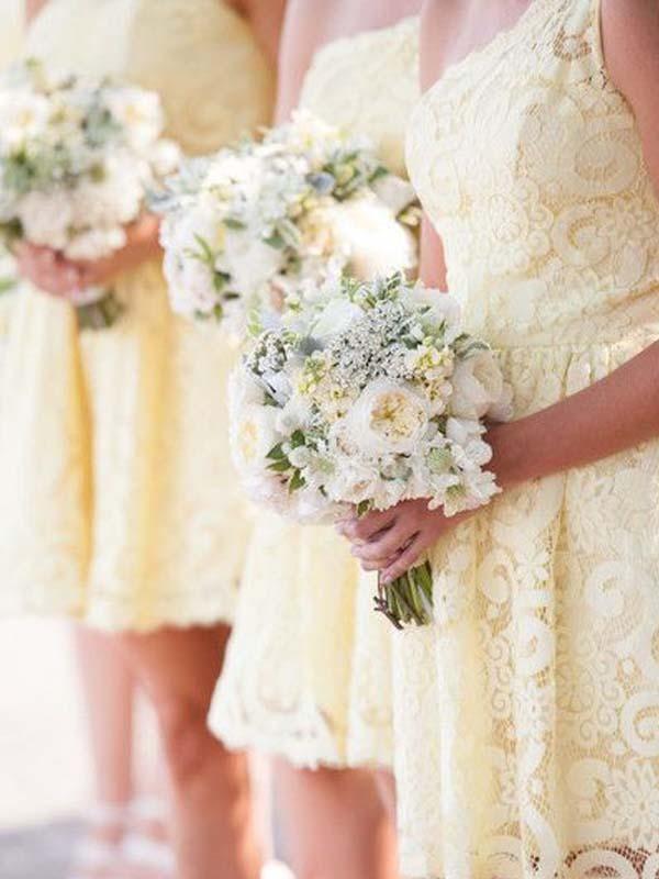 Beautiful Light Yellow Lace One Shoulder Short Bridesmaid Dresses Bw0435 Yellow Bridesmaid Dresses Yellow Bridesmaid Dresses Short Short Bridesmaid Dresses